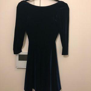 NWOT Navy Blue Velour Skater Dress